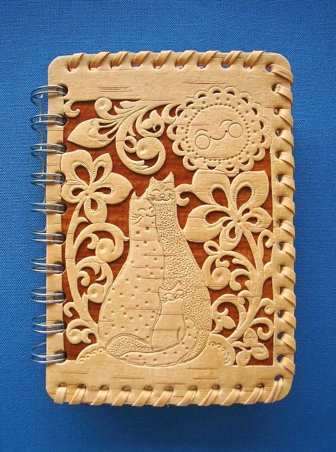 ежедневник ручной работы с обложкой из бересты на пружине