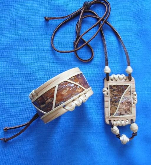 браслет + кулон из бересты с природным рисунком