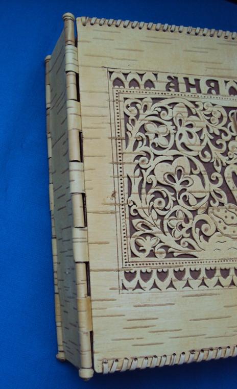 свадебный фотоальбом ручной работы с обложкой из бересты