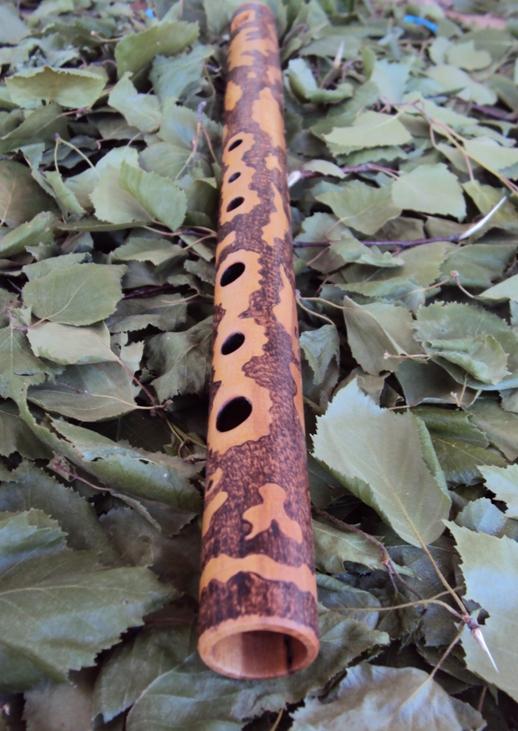 деревянная флейта свирель из груши, выжигание