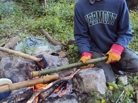 флейта сякухати, обжиг бамбука